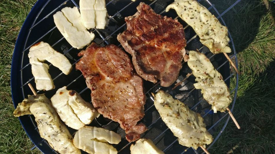 Halloumi Cheese Food BBQ Pork Directly Above High Angle View Close-up Food And Drink Grilled Grilled Chicken Steak Fillet Barbecue