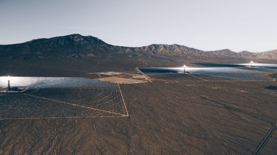 View of solar thermal power against mountain range