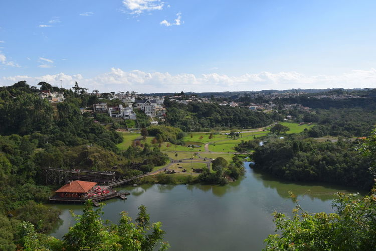 High Angle View Of Lake And Landscape Against Sky On Sunny Day