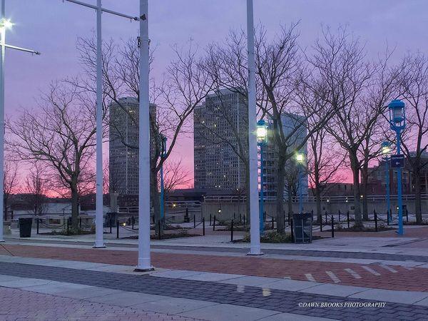 Sunset Blue And Pink Sky Penn's Landing Philadelphia Walking Around Dusk Hanging Out