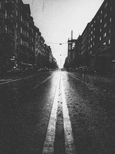Rain City Street Stockholm Hornsgatan Blackandwhite Stockholm Blackandwhite