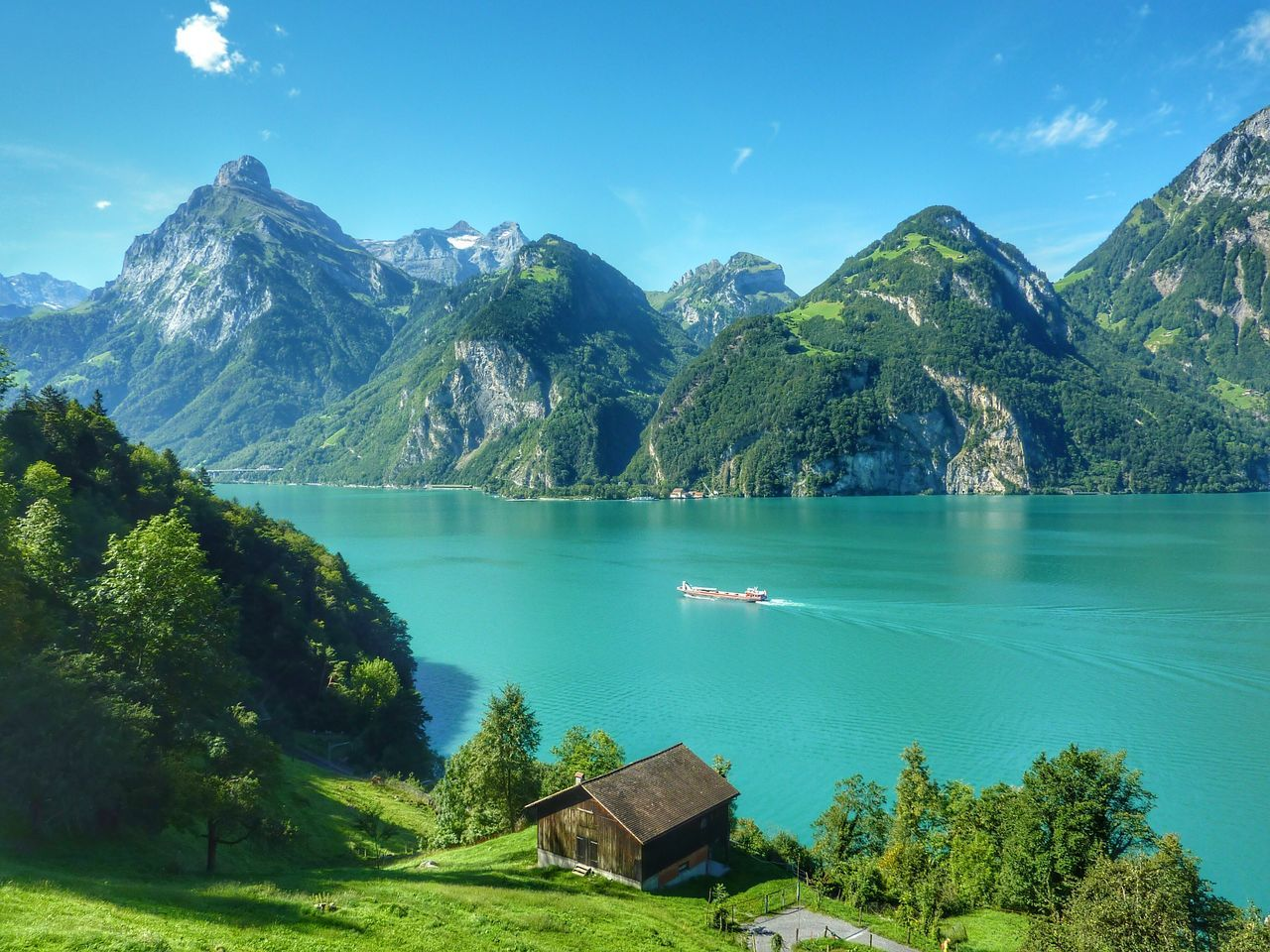High Angle View Of Lake By Mountains And Blue Sky