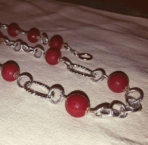 Necklace with ruby root stone Necklacehomemade Rubyrootstone Rubyroot Radicedirubino Collanafaidate Bigiotteriaartigianale Bigiotteria Hobby Jewelryhomemade