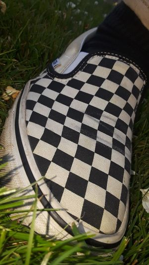 Vans Van Checker Checkerboard Checkerboardpattern Blackandwhite Black And White Black & White Shoe Slipon Slip On Slip On Sneakers Sport Competition Checked Pattern Striped Close-up Grass Checked Finish Line  Square Shape Auto Racing