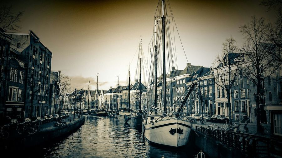 Discover Your City Groningen Light And Shadow in Vintage Monochrome Sepia. Photo Editing