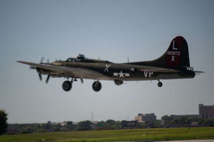 """CAF B-17 """"Texas Raider"""" taking off Air Force Airplane Airshow B-17 Commemorative Air Force Flying Military Military Airplane No People WwII Airplane WWII History WWII Planes"""