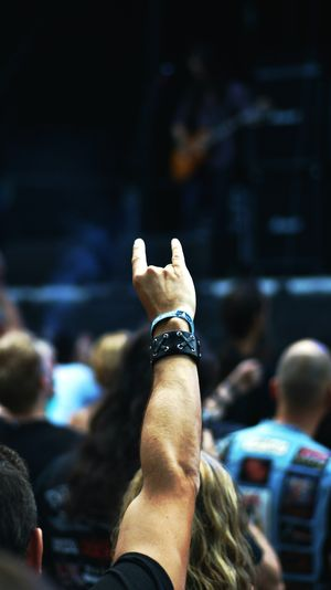 Cropped Image Of Man Showing Rock Music Sign In Music Concert