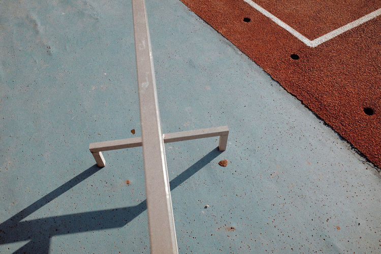 High angle view of metal on floor