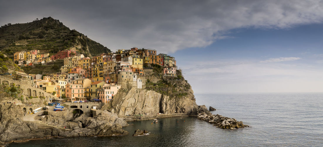 The villages in Cinque Terre, Italy Beach Cinque Terre Cliff Cloud - Sky Day Italy Landscape Nature Outdoors Relaxing Sea Seaside Sky Water