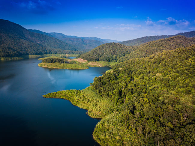 Aerial over a dam in Northern Thailand Aerial Shot Chiang Mai Chiang Mai | Thailand Doi Saket Drones Beauty In Nature Blue Day Drone Photography Idyllic Lake Landscape Mountain Mountain Range Nature No People Outdoors Scenics Sky Tranquil Scene Tranquility Travel Destinations Tree Water