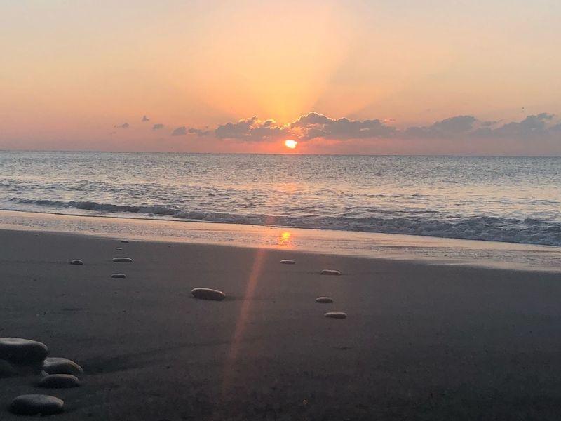 Tahara Aichi Japan Sky Sea Sunset Water Land Beach Scenics - Nature Horizon Over Water Beauty In Nature Nature Tranquility Tranquil Scene Orange Color Horizon Idyllic Sunlight Sand Sun Cloud - Sky No People