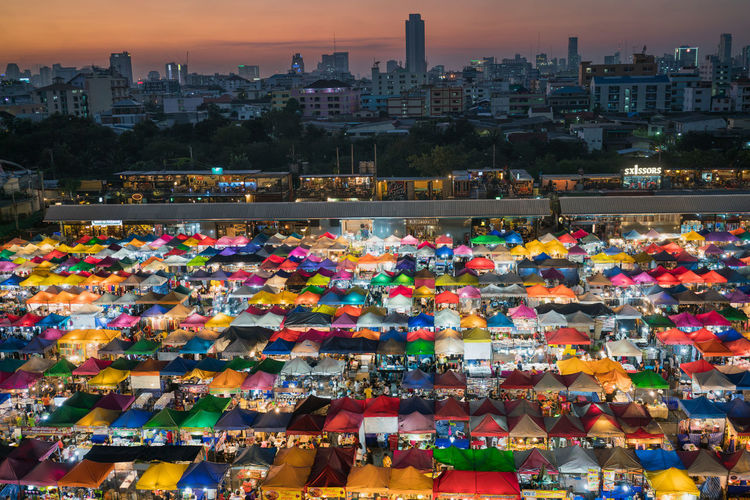 Night Flea Market, Bangkok Bangkok City City Life Community Cultures Large Group Of People Lifestyles Market Market Stall Multi Colored Real People Shopping Street Thailand Top Perspective Walking Sony Sony A7RII A7RII