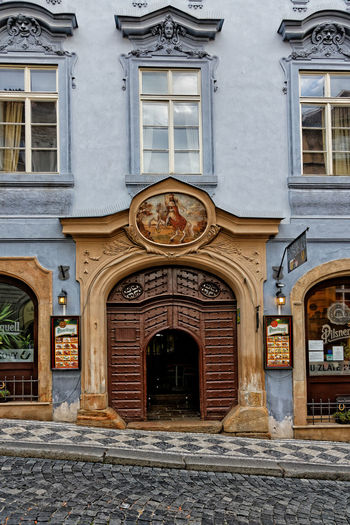 House facade in Prague old town. Built Structure Cityscape Czech Republic House Facade Old Town Prague Prague Czech Republic Sign Backgrounds Commercial Sign Facades House House Facades Information Sign