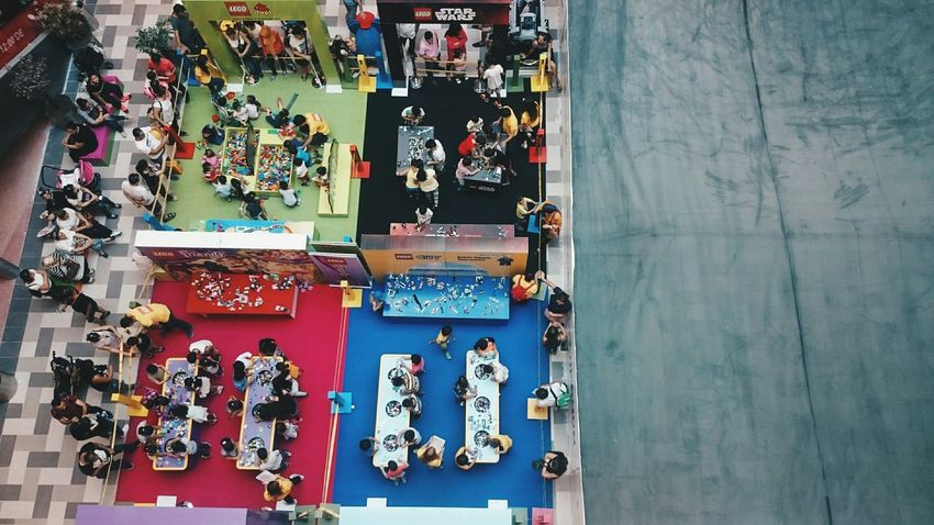 A Bird's Eye View People Person People Watching People Photography Day Colorful Colour Of Life Exploring Toycommunity Kids Shopping Center Blue Yellow Green Red Capture The Moment Live For The Story