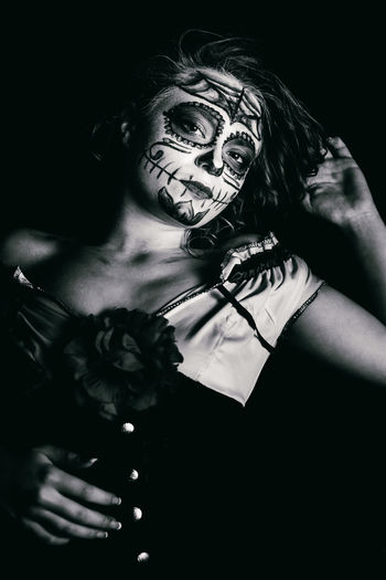 Adult Adults Only Black And White Blackandwhite Body Paint Dark Day Dayofthedead Diadelosmuertos Diademuertos EyeEm Best Shots Flash Photography Flower Helloween Human Body Part Indoors  One Person People Portrait Portrait Of A Woman Portrait Photography Stage Make-up Woman Portrait Women Young