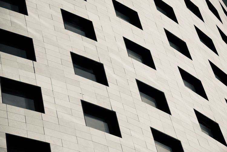 Modern Architecture Contemporary Grey SPAIN Valencia, Spain Full Frame Window Architecture Built Structure Building Exterior Low Angle View No People Backgrounds Building Pattern Outdoors Day City Repetition Office Building Exterior Office Construction Industry Industry Geometric Shape