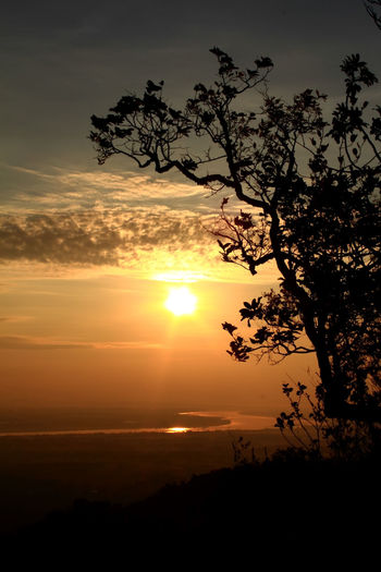 Sunset at Nakhonphanom Thailand. Sunset Sky Beauty In Nature Scenics - Nature Silhouette Tranquil Scene Tranquility Tree Sun Plant Orange Color Idyllic Cloud - Sky Nature No People Sunlight Outdoors Non-urban Scene Growth Environment Romantic Sky