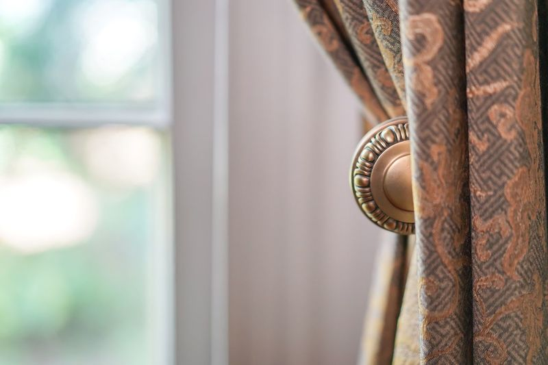 Close-up of curtain at home