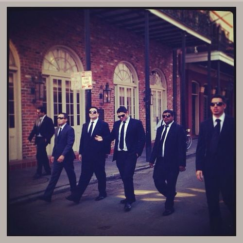 My brothers in New Orleans. They're so cool Resevoirdogs Pbn Suitup Bachelor party totallyjealous