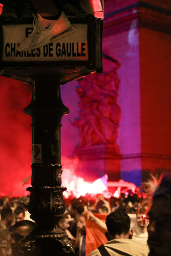 The very special night of the World Cup Finale 2018. Celebrated in Paris with my camera. Group Of People Crowd Architecture Large Group Of People Illuminated City Lighting Equipment Revolution Celebration Celebration Event Firework Display Fireworks Paris ParisByNight Paris ❤ France 🇫🇷 France world cup 2018 Fifa2018 Fifa Soccer Football Final Croatia Charles De Gaulle
