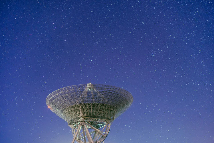 High Section Of Radar Antenna At Night
