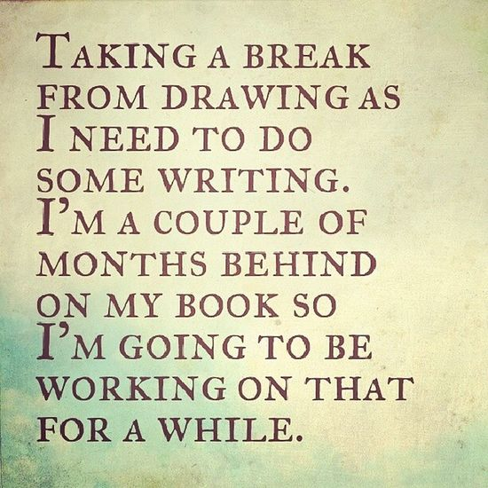 Slacking Book Writing Lazy author drawing procrastinating