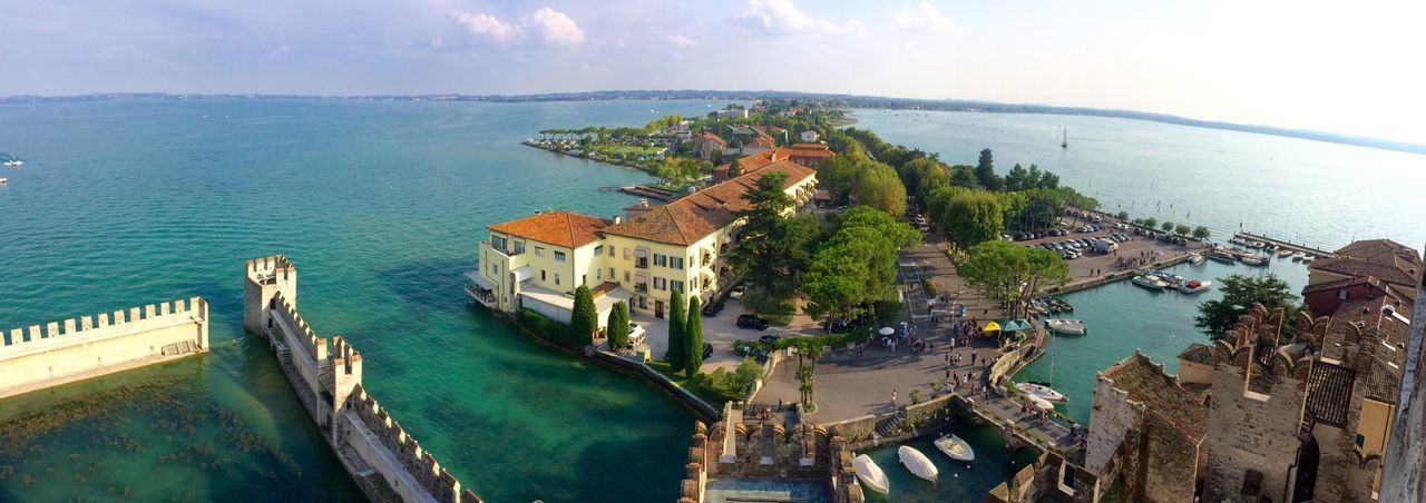 Sirmione Sea Water Architecture Panoramic Island Horizon Over Water High Angle View Coastline Travel Destinations Scenics Town Wide Shot castle Italy🇮🇹