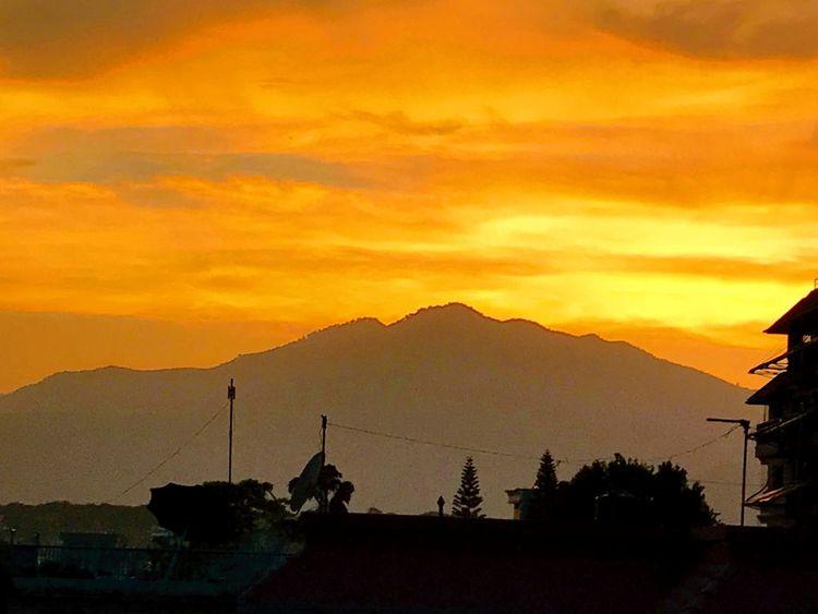 Sunset Mountain Landscape Mountain Range Nature Scenics Beauty In Nature Sky No People Yellow And Orange Beautiful Sunset Kathmandu Nepal