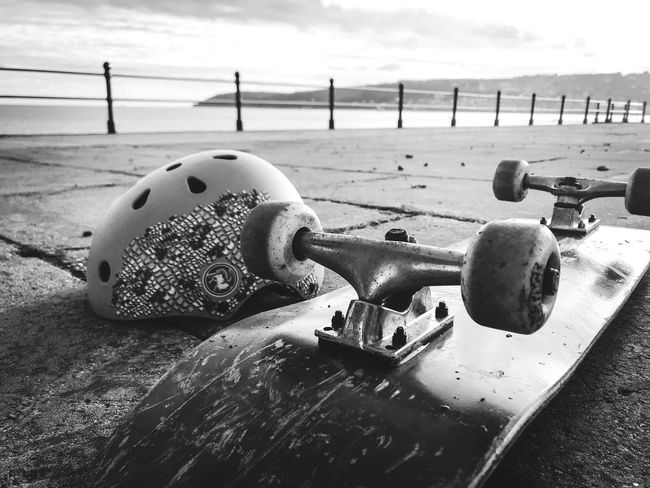 Having a rest Water Metal Beach Sea Outdoors Close-up Objects Safety Helmet Wheels Skateboard Getting Down To The Ground Blackandwhite Railings Black And White Friday One Step Forward #urbanana: The Urban Playground