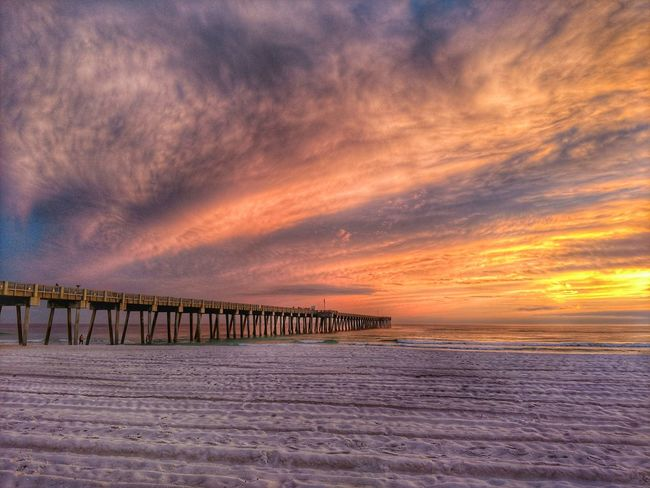 #pier PCB Sunset Dramatic Sky Cloud - Sky Outdoors Sunlight Sky Landscape Beauty In Nature