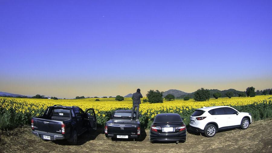 Cars on field against clear blue sky