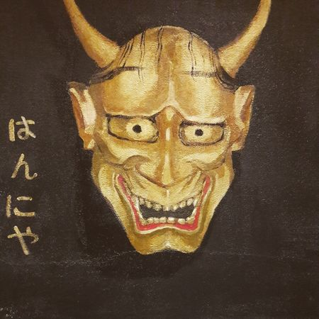 Indoors  Close-up Arts Culture And Entertainment No People Black Background Hannyamask Hannya No Theather Japan Japanese Tradition Gold はんにゃ