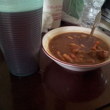 Nothing is better than soup and hot tea when your sick! Sicklife Meatballstew Hottea Yummy