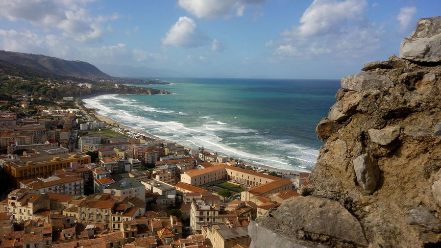 Cefalù presso Palermo Sicily Sea Beach Horizon Over Water Water Cloud - Sky Wave Nature No People Outdoors Sky Day Travel Destinations Scenics Vacations Beauty In Nature Aerial View The Week On EyeEm EyeEmNewHere