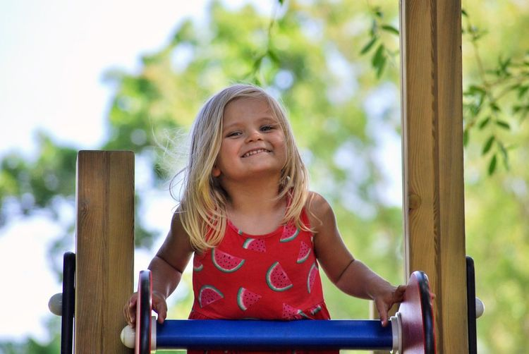 Portrait of girl smiling at playground