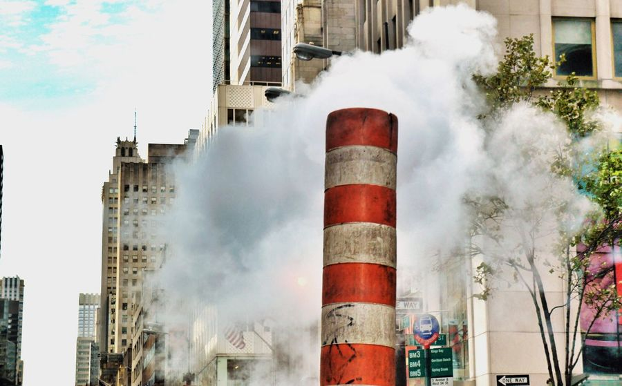 New York City Photos steam stack Built Structure Building Exterior Architecture Smoke - Physical Structure Sky Smoke Stack Factory Air Pollution Emitting Low Angle View Outdoors Industry Day No People
