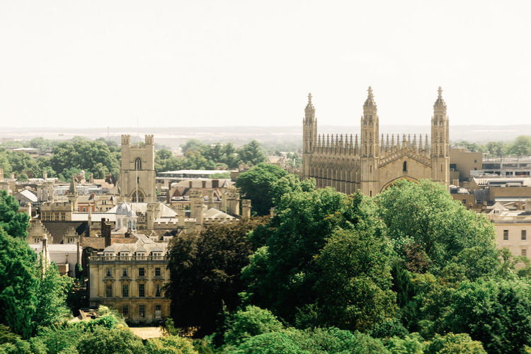 Summertime in Cambridge Cambridge University Campus Skyline Architecture Building Building Exterior Built Structure Cambridge City Clear Sky Copy Space Day England Green Color Growth History Nature No People Outdoors Plant Sky The Past Travel Travel Destinations Tree