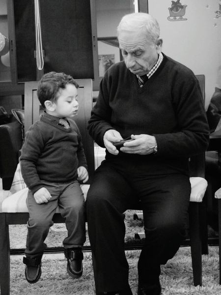RePicture Ageing myson grandfather grandchild love care age difference generation technology interest love blackandwhite photography similar