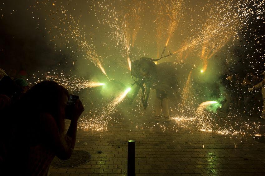 Besties a les festes de Sant Roc 2016 Besties Catalonia Catalunya Celebration Culture Entertainment Event Exploding Fire Firerun Firework - Man Made Object Firework Display Fireworks Illuminated Motion Night Outdoors Party Sant Roc Street Traditional