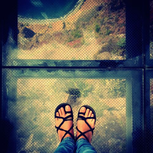 Acantilados Cabo Girão Mirador Miradouro Cabo Cliff Balcony Balcony View Madeira Madeira Island Portugal Nature Island Summer View Low Section Standing Human Leg Shoe Personal Perspective Directly Above Pair Human Foot Close-up Sandal