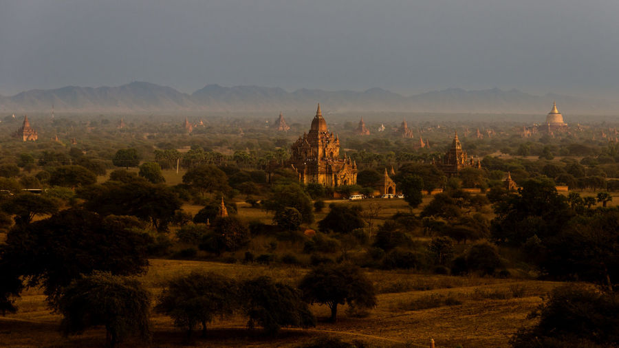 Bagan Sunset Architecture Bagan Burma Golden Hour Idyllic Landscape Myanmar Nature No People Outdoors Pagoda Place Of Worship Rural Scene Sky Spirituality Sunset Temple Temple - Building Tourism Tranquil Scene Travel Destinations UNESCO World Heritage Site