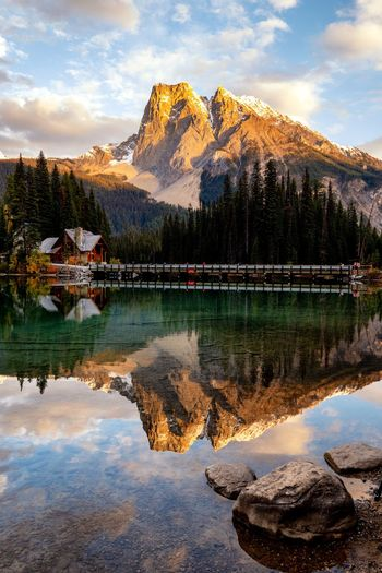 Apenglow Lakeside Sunset Landscape Emerald Lake, Yoho Park, Alberta, Canada EyeEmNewHerе Emerald Lake,canada Apenglow Water Reflection Cloud - Sky Lake Sky Tranquility Mountain Beauty In Nature Nature Outdoors