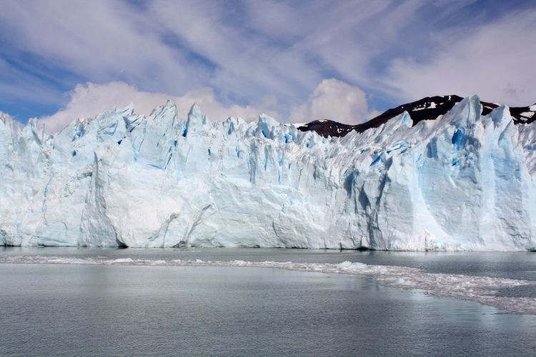 Steep spectacular glaciers at the edge of the sea