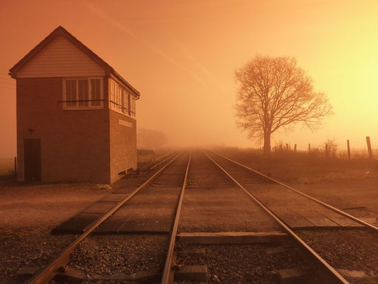 Signal Box on Misty morning Bare Tree Clear Sky Diminishing Perspective Orange Color Railroad Track Railway Signal Box Sunrise Tranquility Tree Vanishing Point Track Tracks Landscapes With WhiteWall Heritage GWSR Gloucestershire Warwickshire Steam Railway