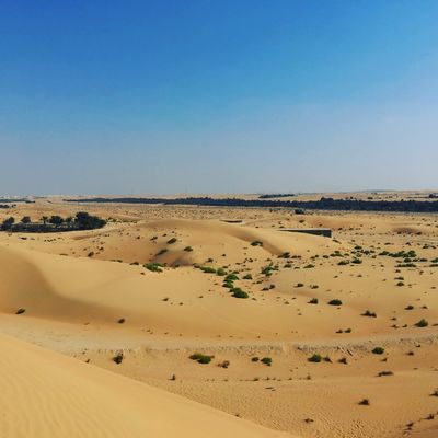 Sky, Horizon and Desert Sand Land Desert Landscape Scenics - Nature Clear Sky Sky Tranquil Scene Tranquility Beauty In Nature Copy Space No People