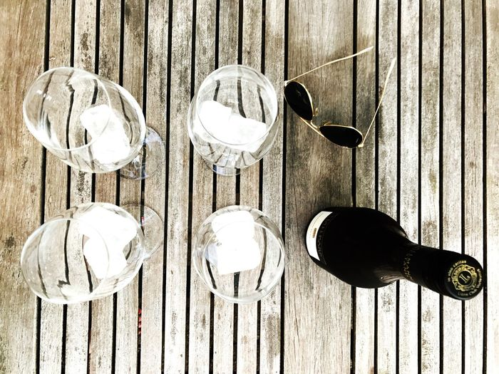 Wood - Material Table No People Food And Drink Fork Day Close-up Outdoors Wine Freshness Wineglass Wine Moments Still Life Ice Drink No People, Outdoor Garden Table Setting Sunglasses Sundowner Afterwork Drinks Sunset Outdoor Pictures Wine Not