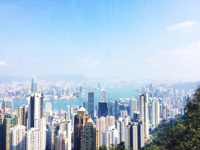 VictoriaPeak - Thepeak in Central of Hong Kong - Landscape Skyview for amazing Downtown and Bay