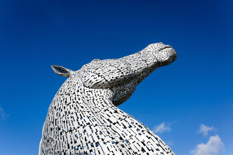 Horse Head Falkirk Scotland Statue Animal Animal Representation Architecture Art Art And Craft Blue Sky Canon 5d Mark Lll Canonphotography Cat Craft Creativity Day Horse Kelpies  Low Angle View Metal No People Outdoors Representation Sculpture Sky