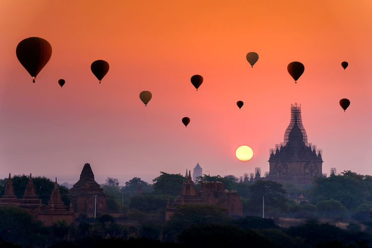 Sunrise many hot air balloon in bagan, myanmar.