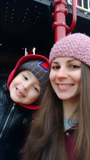 Two People Portrait Smiling Red Togetherness Front View Knit Hat